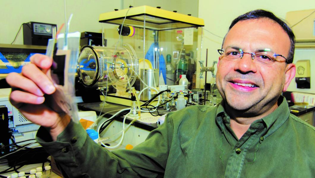 Somenath Mitra, who has embedded carbon nanotubes in polymer composites, thin films, nanoelectronics and flexible batteries (above), is now deploying them in the fight against COVID-2.