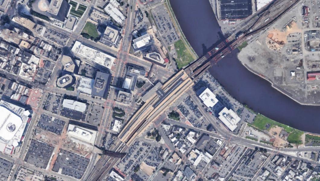 Aerial view of Newark Penn Station