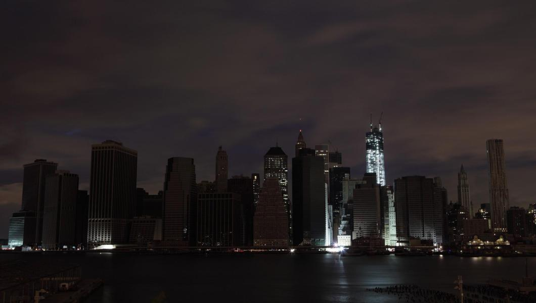Lights off in Manhattan after Sandy