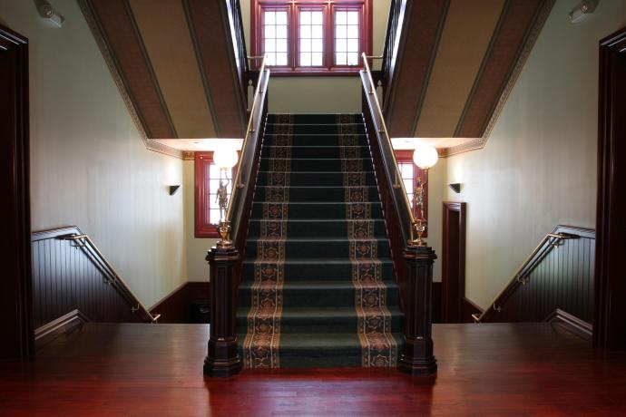The grand staircase at Eberhardt Hall is original to the building.