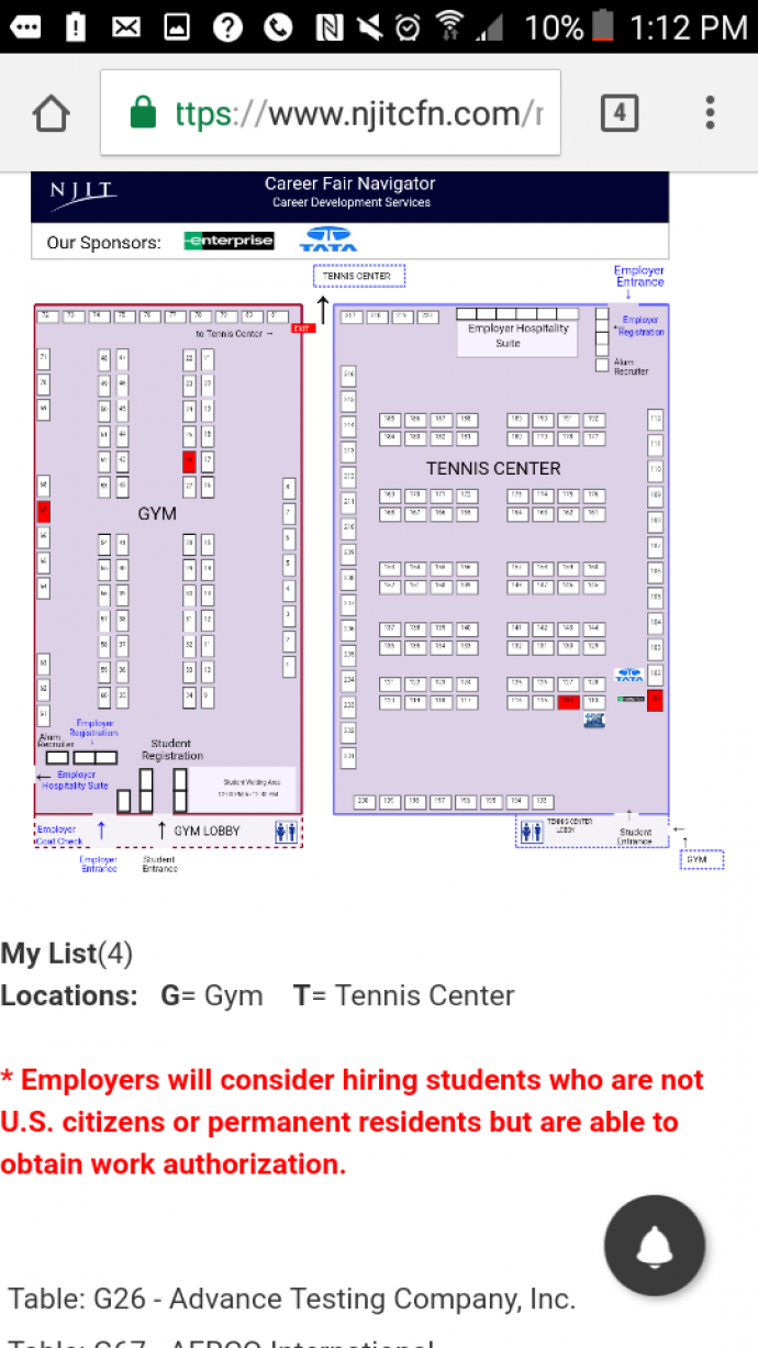 Students can easily locate employers at the fair using the website tool.