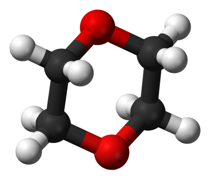 3-D image of 1,4-dioxane's circular molecular structure. (Wikipedia.org)