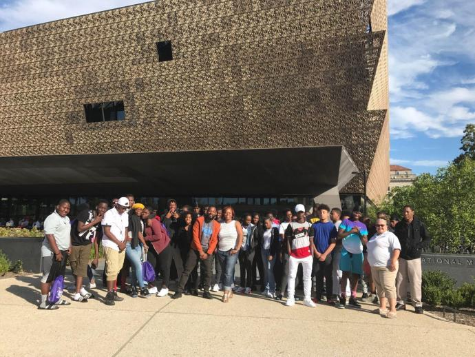 GEAR UP students visit the National Museum of African American History and Culture while on a college tour this past September.