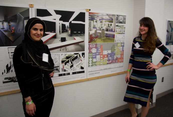 Seniors Tesneem Elabed (left) and Randa Aji display their creativity through their interior designs.
