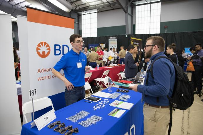 NJIT alum Pat DeBiasse (left) was recruiting for Becton Dickinson and Company.