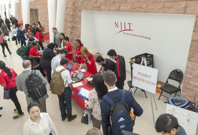 2018 Fall Career Fair at NJIT, students checking in