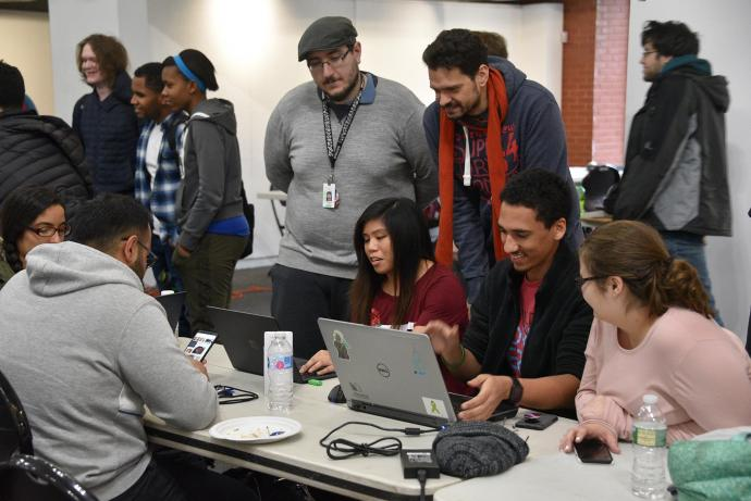 Participants at the NJIT site for Global Game Jam 2019