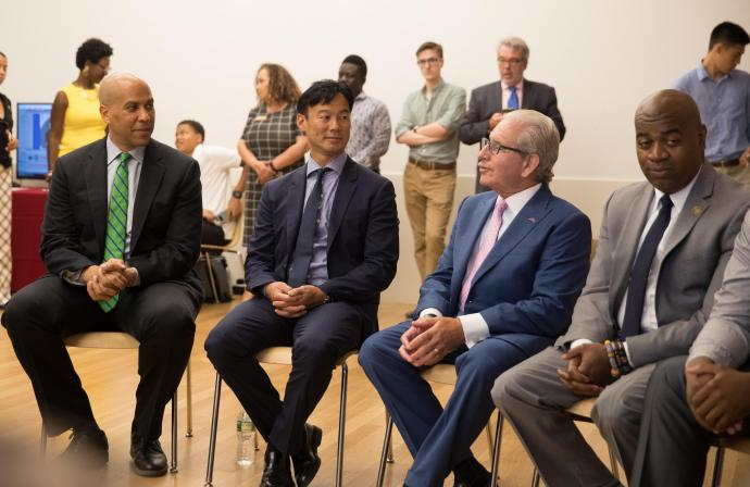 (Left to right) Senator Cory Booker, Altice CEO Dexter Goei, NJIT President Joel Bloom and Newark Mayor Ras Baraka