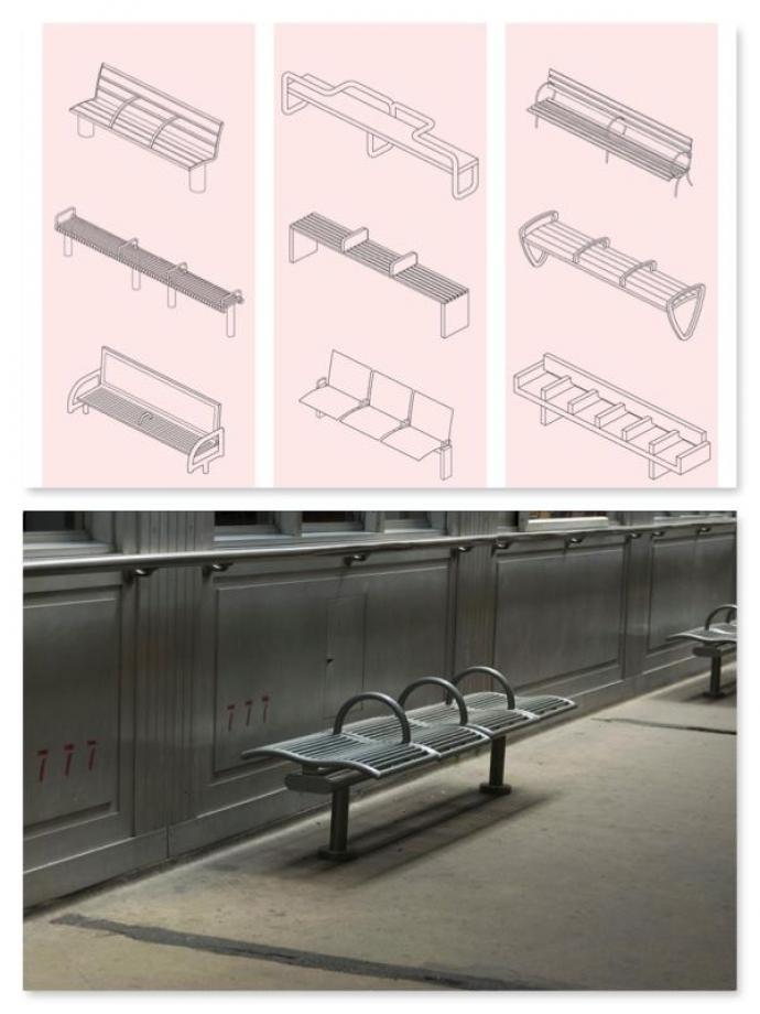 Benches designed with armrests prevent the homeless from sleeping in public places.