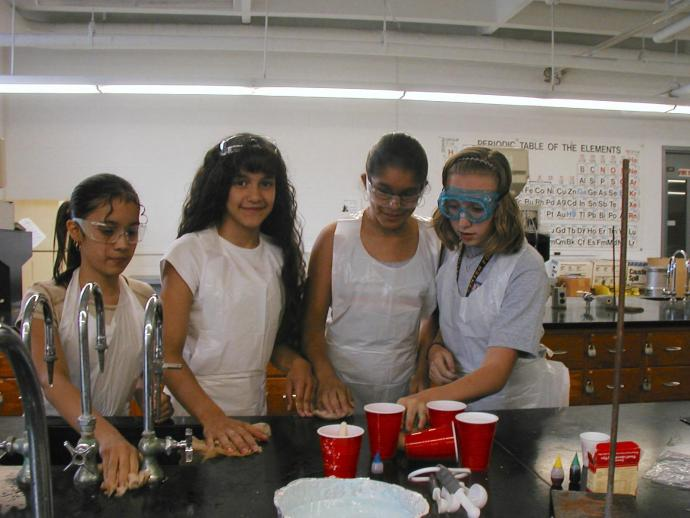 Then aspiring scientist Stephanie Iring (far left) helped conduct an experiment as a CPCP FEMME7 participant.