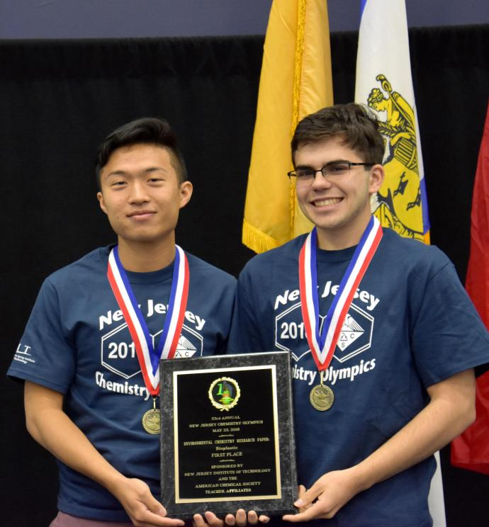 Gold medalists, Shan Jiang (left) and Edward Neves, help John P. Stevens High School win top Olympic honors.