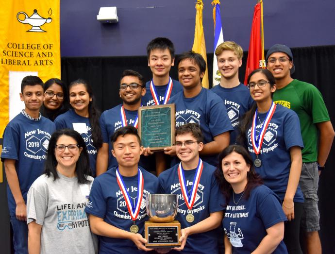 John Paul Stevens High School's Team A win 3 medals (2 gold plus 1 silver), helping the high school win five medals (2 gold, 2 silver and 1 bronze) at the 2018 New Jersey Chemistry Olympics.