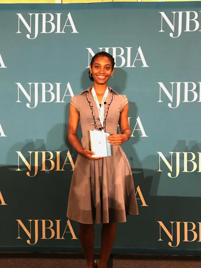 Ester Calderon, an Honors College senior studying applied mathematics, received NJBIA's Rising Star Award.