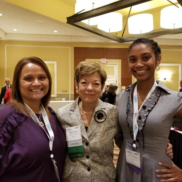 NJIT student Ester Calderon (right) enjoyed the NJBIA Women Business Leaders Forum with (from left) her mother Jeannette and Sally Glick, principal and chief growth strategist, Sobel and Co.