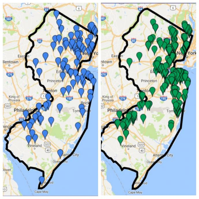 More than 94 NJ Districts have officially committed to support their schools' Future ready efforts (left). From those districts, 265 schools have officially declared their participation in the program (right).