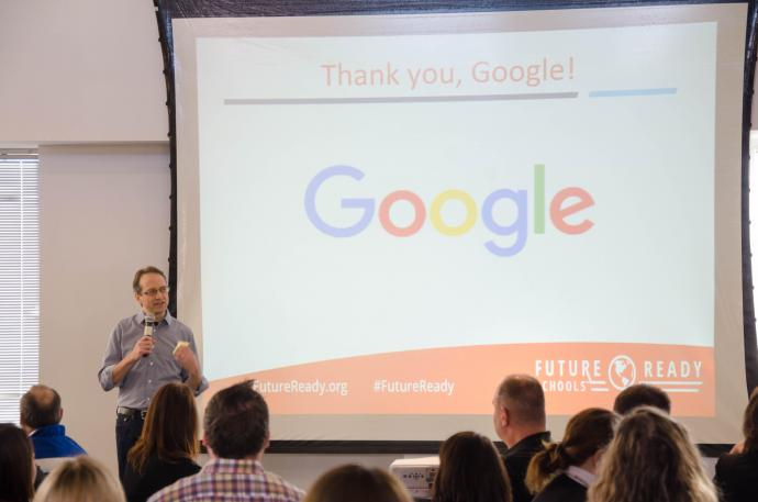 Jonathan Rochelle speaking about Google's engagement with education for the digital future.