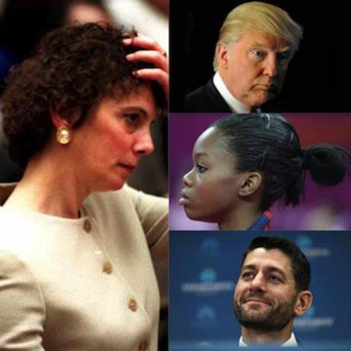 Hairy situations: Marcia Clark, Donald Trump, Gabby Douglas and Paul Ryan have all inadvertently made headlines over their hairstyles.