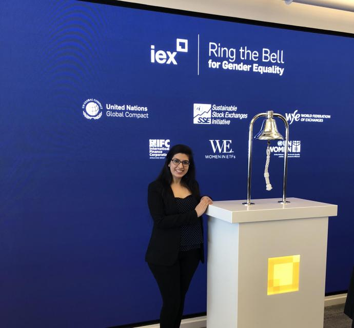 """Harpuneet Kaur participated in IEX's """"Ring the Bell for Gender Equality"""" event, part of the company's International Women's Day celebration held March 8."""