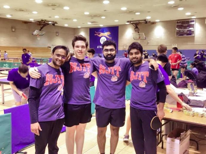 Highlanders table tennis team members (from left) Anubhav Gupta, Alex Averin, Vivek Kanakamedala and Sabarish Niranian at the 2017 NCTTA divisional.