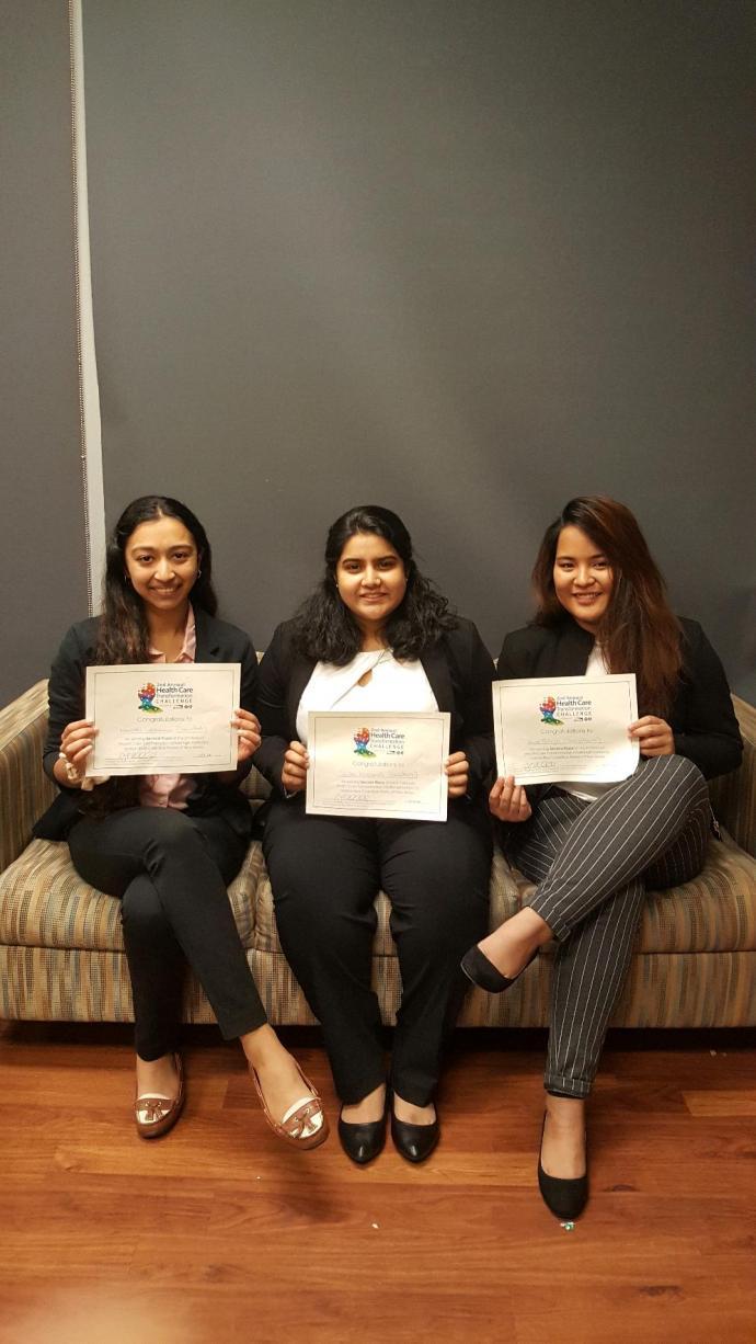 The SimulaHealth team - (from left) Nanditha Lakshmanan, Sushni Mukkamalla and Anna Vallejo
