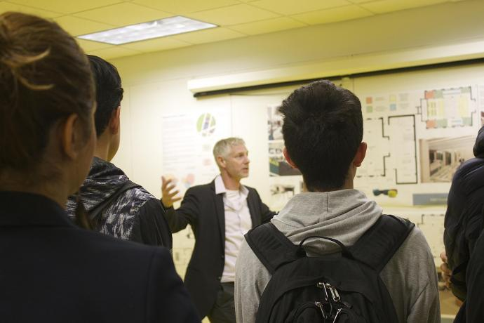 Brothers explains the concept behind his culinary school and restaurant design studio to a group of Newark high school students in the ACE Mentor Program of America.