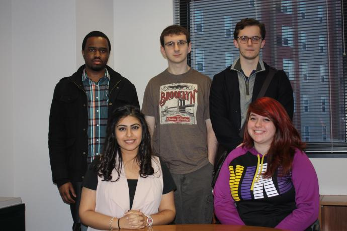 NJIT Scholarship for Service students Kevin McKenzie, Erik Tielemah, Christian Graner, Theresa Wagner and Manvi Sethi