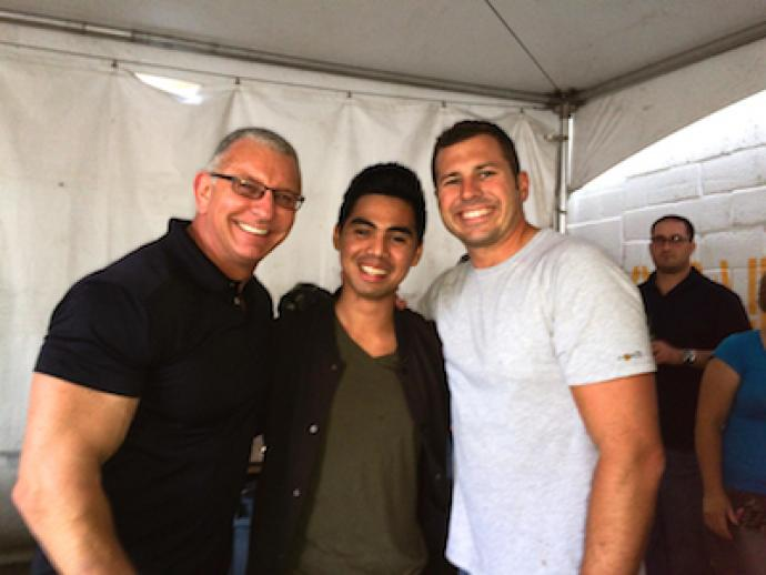 (from left to right) Celebrity chef and Restaurant: Impossible host Robert Irvine, NJIT interior design student Elouie Gaspar and NJIT alum and Restaurant: Impossible construction manager Tom Bury