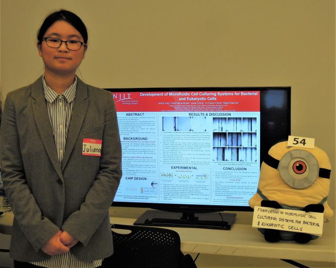 Juliana Yang presented her research in NJIT's Opto and Microfluidics Laboratory at the university's 12th International Undergraduate Summer Research Symposium this past August.