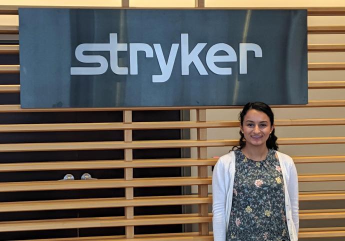 NJIT Student Karen Ayoub at her internship at Stryker