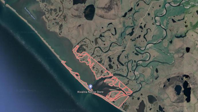 Satellite image of the Kivalina community on a barrier island in Alaska, predicted to be underwater by 2025.