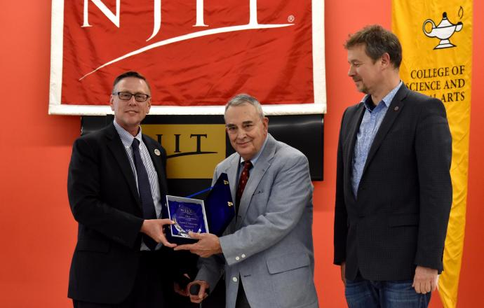 Dr. Belfield and NJIT Physics Chair Andrei Sirenko present Lanzerotti with the CSLA Lifetime Achievement Award.