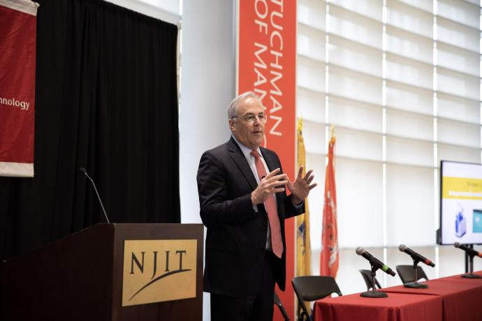 Stryker's Robert Cohen, NJIT alumnus and vice chair of the university's board of trustees, spoke about 3D printing, robotics and predictive analytics.
