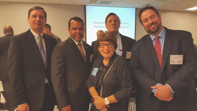 (From left) Aaron Fichtner, N.J. Department of Labor and Workforce Development; Mike Wallace, N.J. Business and Industry Association; Gale Spak, NJIT; Mark Magyar, N.J. Senate Democratic Office; Christopher Emigholz, N.J. Republican Office.