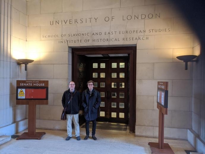 Assistant Professor of Finance Steve Taylor (left) and Pablo Sota '19 at University of London to present the NJIT team's research on Social Security benefit valuation and risk