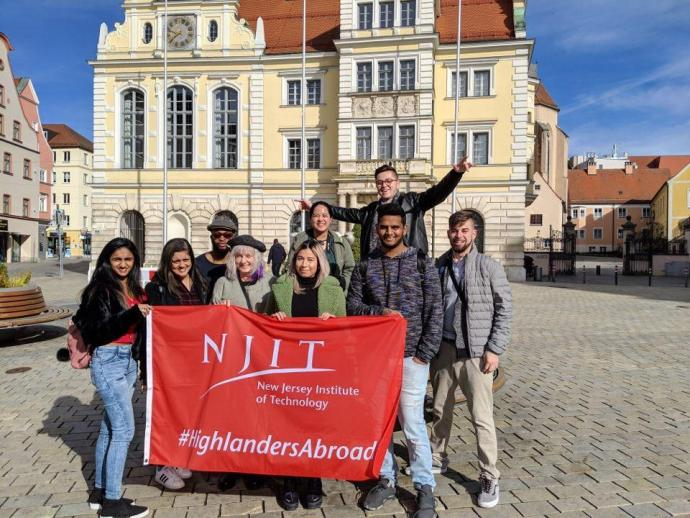 Visiting Old Town Hall in Ingolstadt are (back row, from left) Josh Ugwuneri, Nicole Villavicencio, Thiago Goncalves Soares; (front row, from left) Shreya Bodugum, Pooja Patel, Melodi Guilbault, Stephanie Turcios, Venkat Chowdary Kesineni, Nick Gurrieri