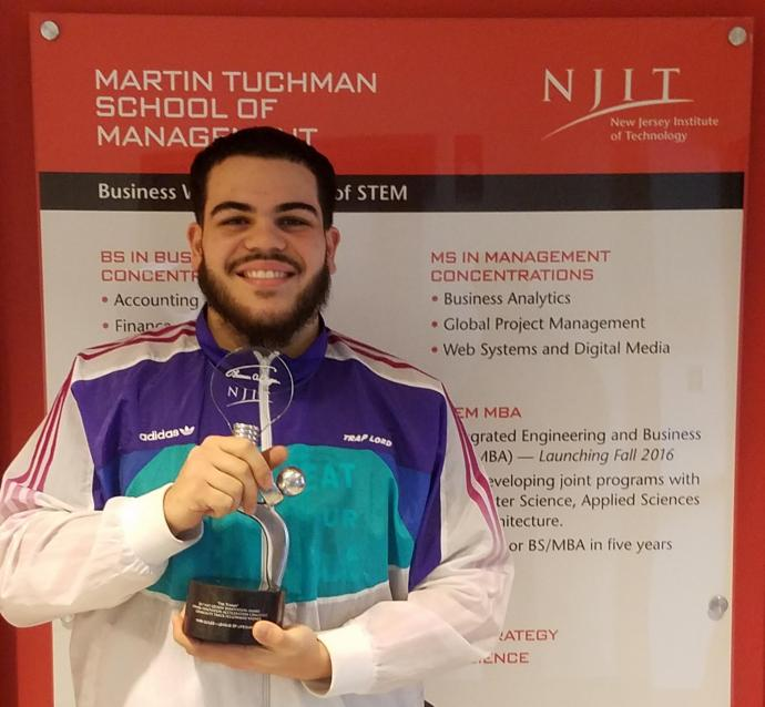 Mark Quiles, now a finance/marketing alumnus, won first place for his business, League of Lifeguards, in the 2017 Newark Innovation Acceleration Challenge student competition sponsored by NJIT, Capital One and the Greater Newark Enterprises Corporation.