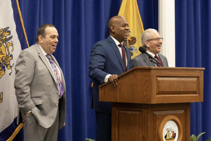 At the news conference (from left) - Newark Public Schools Superintendent Roger Leon, Newark Mayor Ras J. Baraka, NJIT President Joel S. Bloom