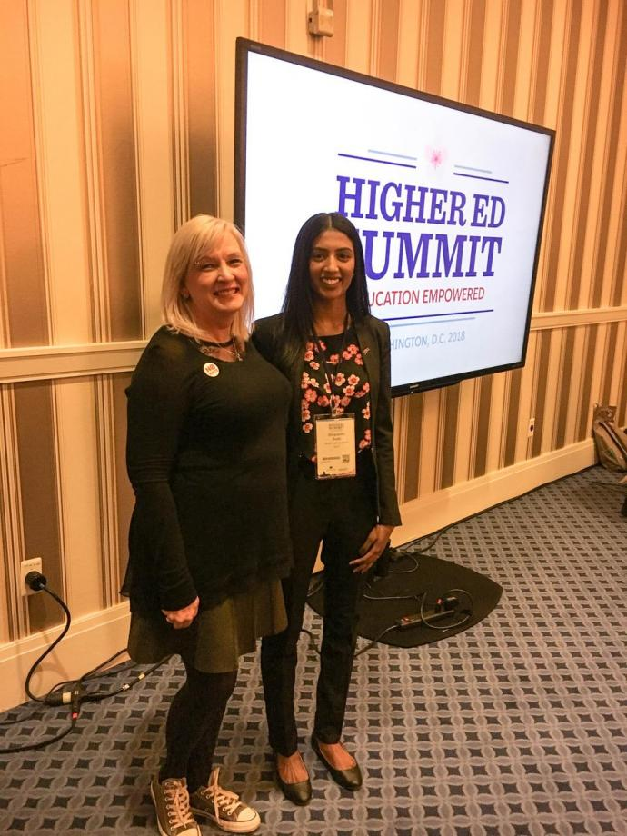 Salesforce invited Senior University Lecturer Melodi Guilbault (left) and MTSM student Shravanthi Budhi to discuss the school's strategy for engaging and educating students in the platform.