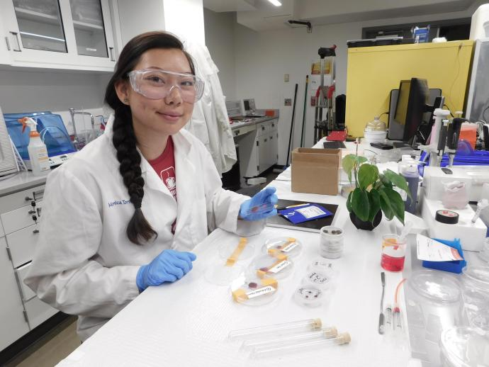 Monica Torralba studies the effects of plant growth responses to lighting, nutrient and water delivery systems.