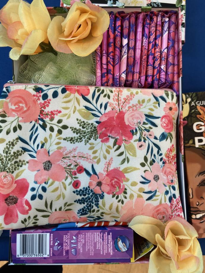 LeShannon Wright's Turning Tulips offers three monthly subscription options, cancelable at any time, that deliver feminine hygiene products along with extras such as treats and natural pain remedies.