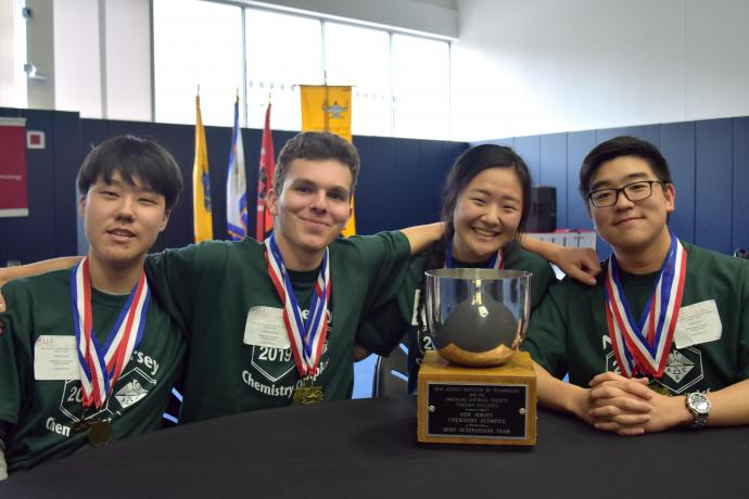 Primoris Academy's medal winners (from left) Minkyu Son, Andrew Markov, Clara Kim and Jiwook Shin.