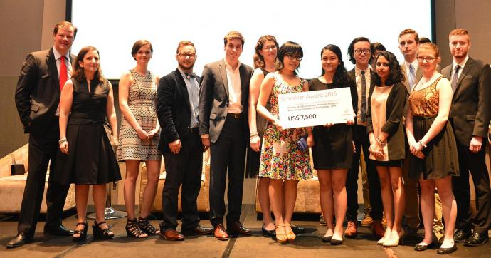Master of Infrastructure Planning students in Georgeen Theodore's (second from left) fall 2014 studio take home honorable mention at the Global Schindler Awards in Shenzhen, China.