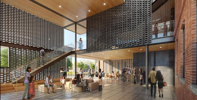 Renderings show an art gallery and cafe inside the addition.