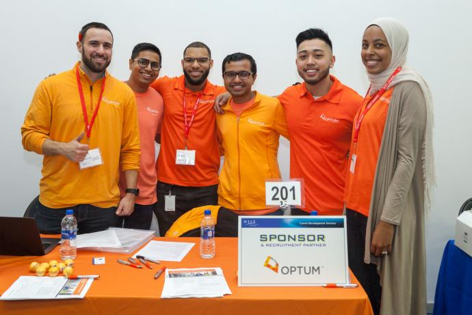 Recruiting for Optum at the Spring 2018 Career Fair were employees and NJIT alumni (from left) Dominick Cirillo, Aakash Parekh, Alexander Henry, Nikhil Virparia, Joseph Restua and Aya Elsekhely.