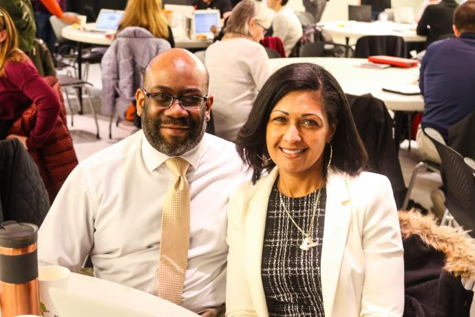 Paulette Salomon and East Orange District Network Manager Curtis Frazier at FRS-NJ Summit at NJIT.
