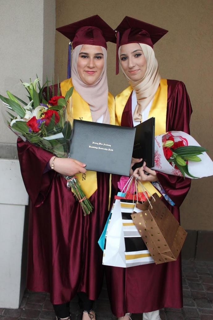 (From left) Aseel Shehadeh and Tahanee Mustafa graduated from Rising Star Academy in 2017.