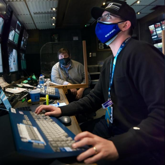 Inside the production truck, Brown animated over 100 graphics that aired throughout CBS's Super Bowl pregame, halftime and postgame coverage.