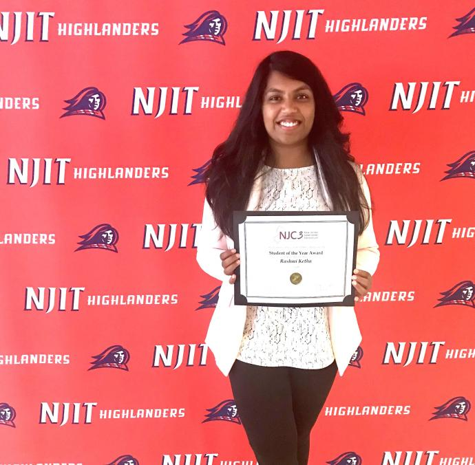 An NJC3 Student of the Year, Rashmi Ketha picked up her certificate at NJIT's Diploma Day.