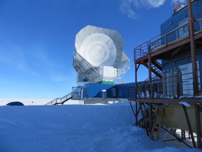 The South Pole telescope, located about a kilometer from the base station, is designed to study the cosmic microwave background, helping scientists map galaxy clusters and explore dark energy, the force that may be driving the expansion of the universe
