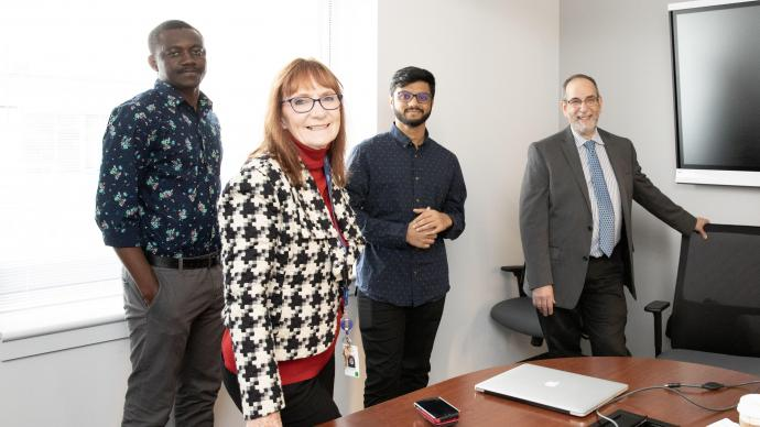 Project team members (from left) Abubaker-sadiq Abdulai, MTSM Ph.D. student; Lynn Wilson, NJII executive head of operations; Varun Balaji, industrial engineering M.S. student; and Michael Ehrlich, MTSM associate professor of finance